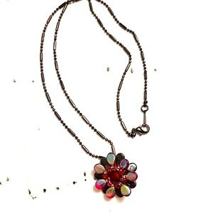 Red Beaded Flower necklace